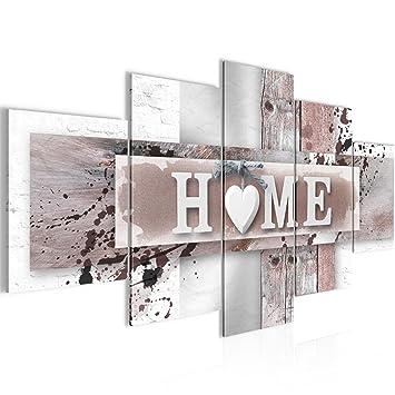 Bilder Home Herz Wandbild 200 x 100 cm Vlies - Leinwand Bild XXL Format  Wandbilder Wohnzimmer Wohnung Deko Kunstdrucke Braun 5 Teilig - Made IN ...