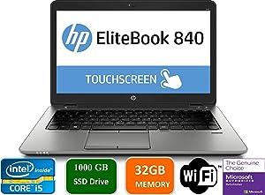 "HP EliteBook 840 G3 Business Laptop, 14"" Anti-Glare FHD (1920x1080) Touch Screen, Intel Core i5-6200U, 32GB DDR4, 1TB SSD, Webcam, Fingerprint Reader, Windows 10 Pro (Renewed)"