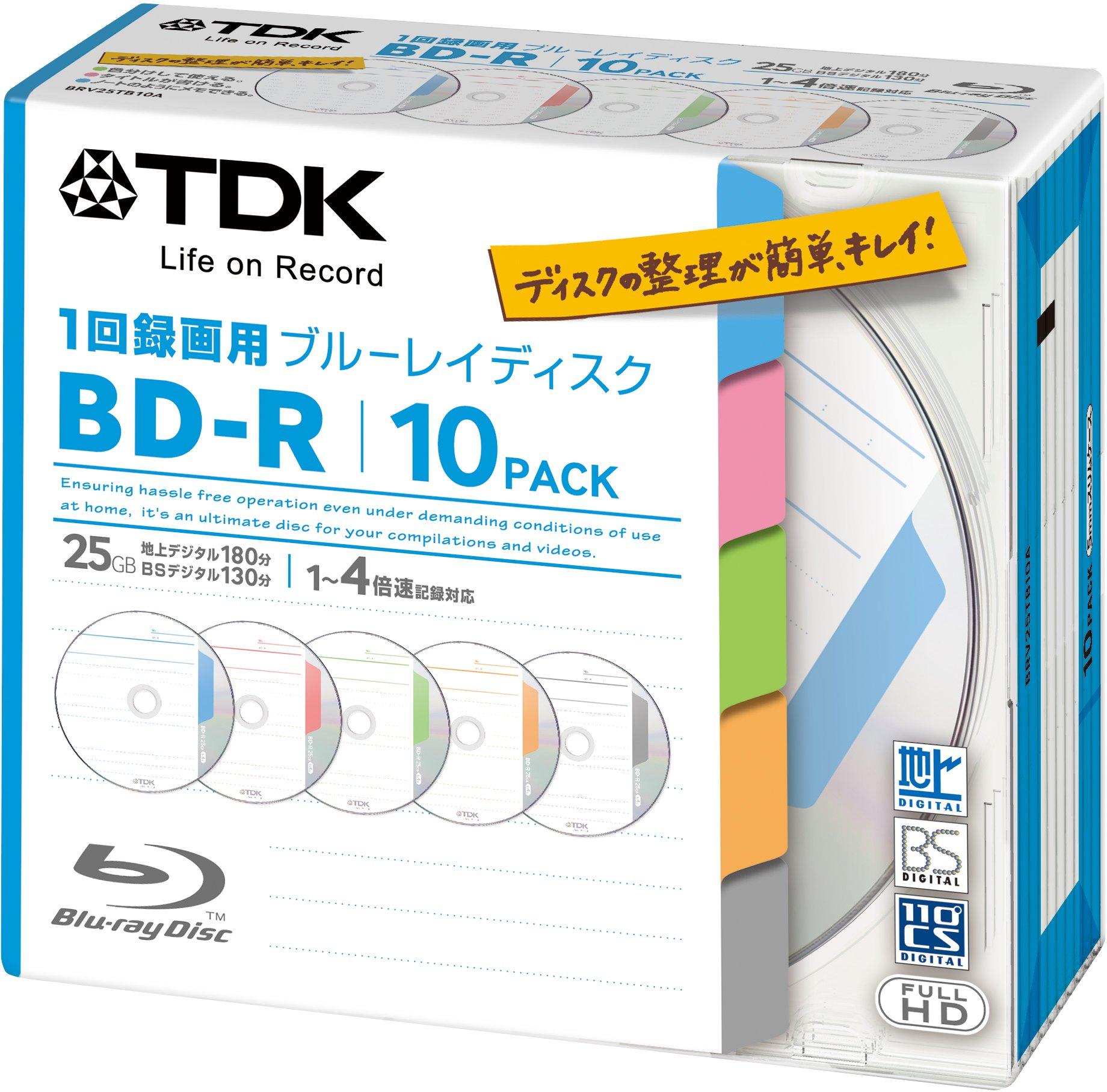 TDK Bluray Disc 25 gb BD-R 4x Index Series HD Discs 10 Pack in Jewel Cases