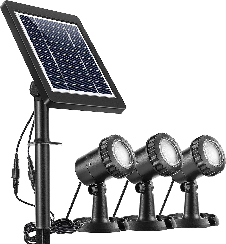 Ankway Luces solares focos para estanques (Paquete de 3), Solares Luces Exterior LED IP68 Impermeable Lámpara Solar para Piscina iluminación de jardín, Aire Libre, Auto On/Off (Blanca)