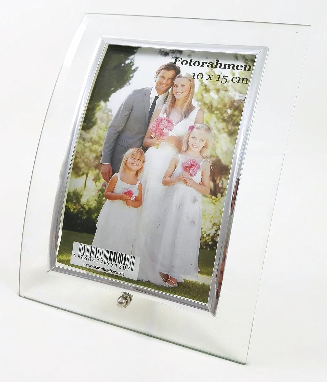 Geschwungener Bilderrahmen aus Glas, für Fotos 10 x 15 cm ...