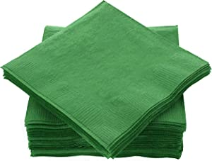 """Amcrate Big Party Pack 125 Count Green Beverage Napkins - Ideal for Wedding, Party, Birthday, Dinner, Lunch, Cocktails. (5"""" x 5"""")"""