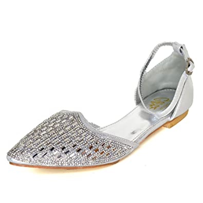 ade1611d31 Ladies Diamante Strappy Shoes Flat Ballet Pumps Pointed Toe Evening Sandals  Size[Silver,UK