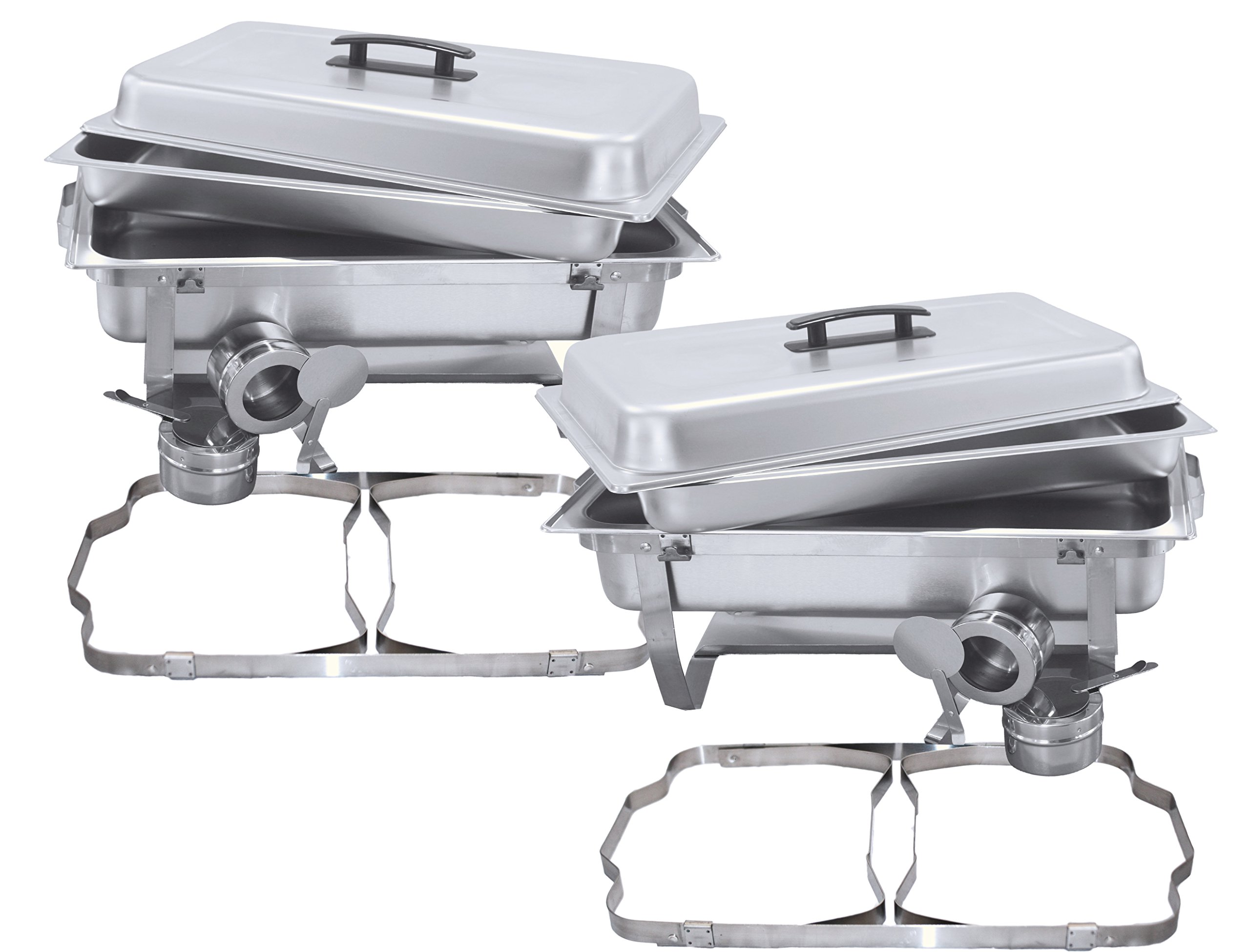 Tiger Chef 2-Pack 8 Quart Full Size Stainless Steel Chafer with Folding Frame and Cool-Touch Plastic on Top