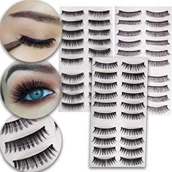 83c1ec815cf Amazon.com : Make Up Set of 30 Pairs Fake Eyelashes Classic False Eyes  Lashes Artificial Extensions In 3 Different Styles and Black Color : Beauty