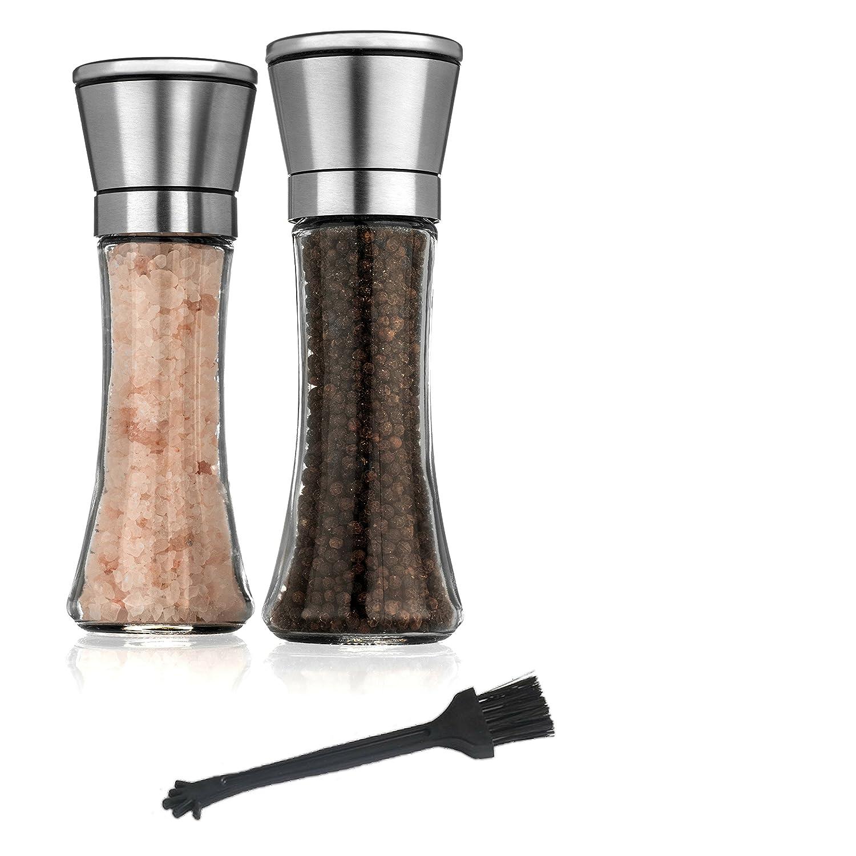 ZaraLuxe Salt And Pepper Grinder Set Set Of 2 ZLZN1 Easy To Refill /& Clean Premium Salt Pepper Mill Stainless Steel Salt And Pepper Shakers w// Tall Glass Body /& Adjustable Coarseness Ceramic Rotor