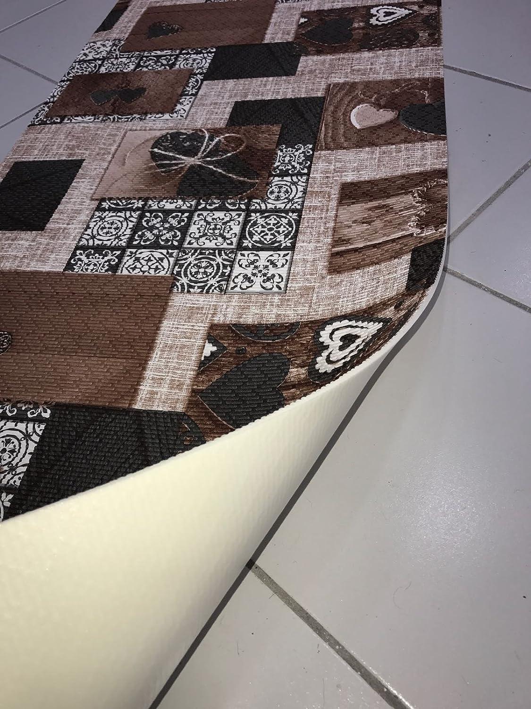Tappeto cucina a metraggio PVC largo 55 Love Nodo shabby chic Beige