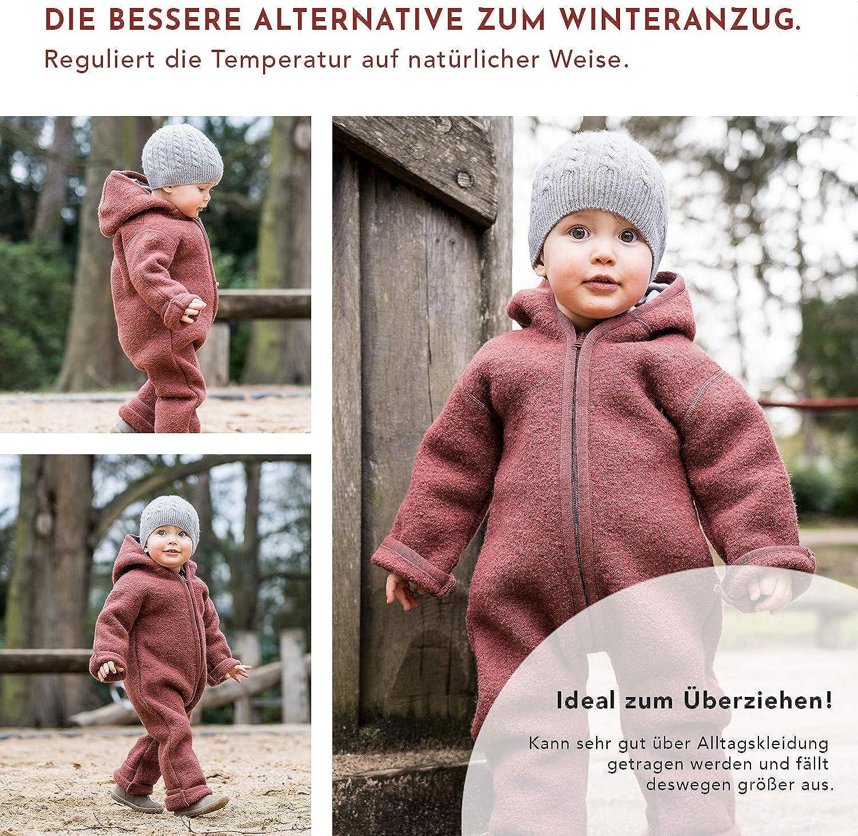 100/% Made in Germany Rosa Farbe Halfen Wollwalk Overall Baby aus Bio Natur Schurwolle