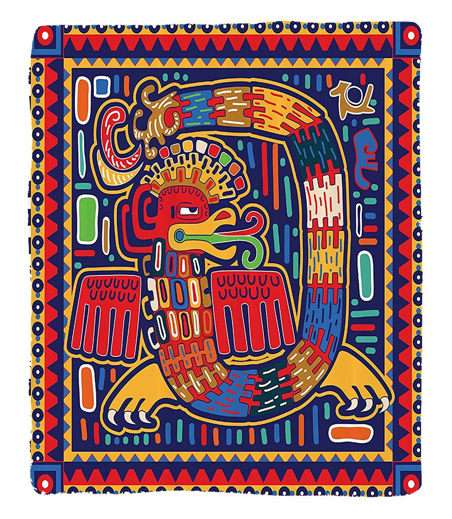 Chaoran 1 Fleece Blanket on Amazon Super Silky Soft All Season Super Plush Mexican Decorations Collection Aztec Pattern Ethnic Colorful Ornamental Mythology Ancient Historynake Image Fabric Extra Red by chaoran