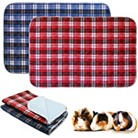 BWOGUE 2 Pack Guinea Pig Cage Liners Washable Guinea Pig Bedding Reusable Waterproof Anti Slip Pee Pads Super Absorbent…
