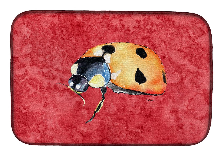 Caroline 's Treasures 8869ddm Lady Bug Onレッドディッシュ乾燥マット、14 x 21、マルチカラー   B07BNTSVJY
