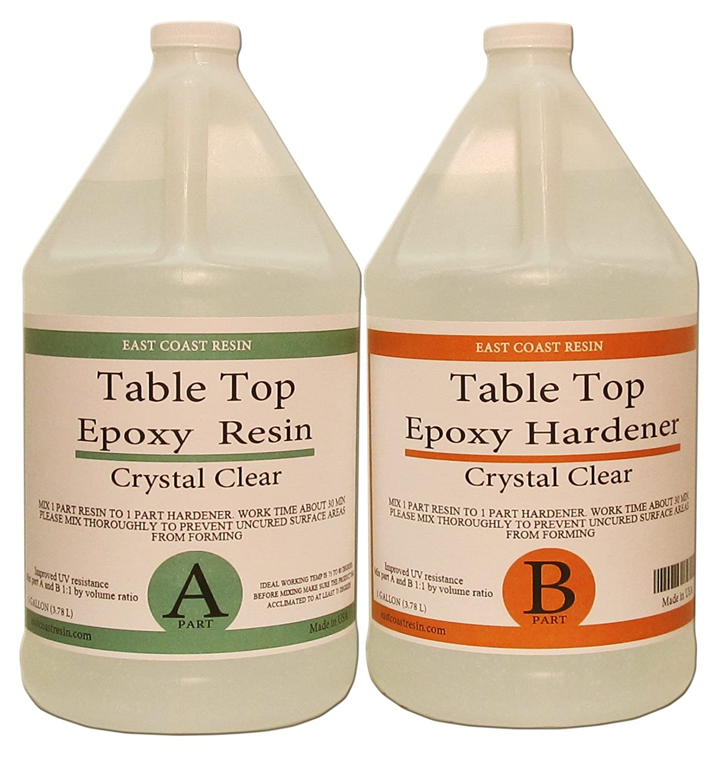 TABLE TOP EPOXY RESIN CRYSTAL CLEAR 2 Gallon Kit. FOR SUPER GLOSS COATING East Coast Resin CECOMINOD076490