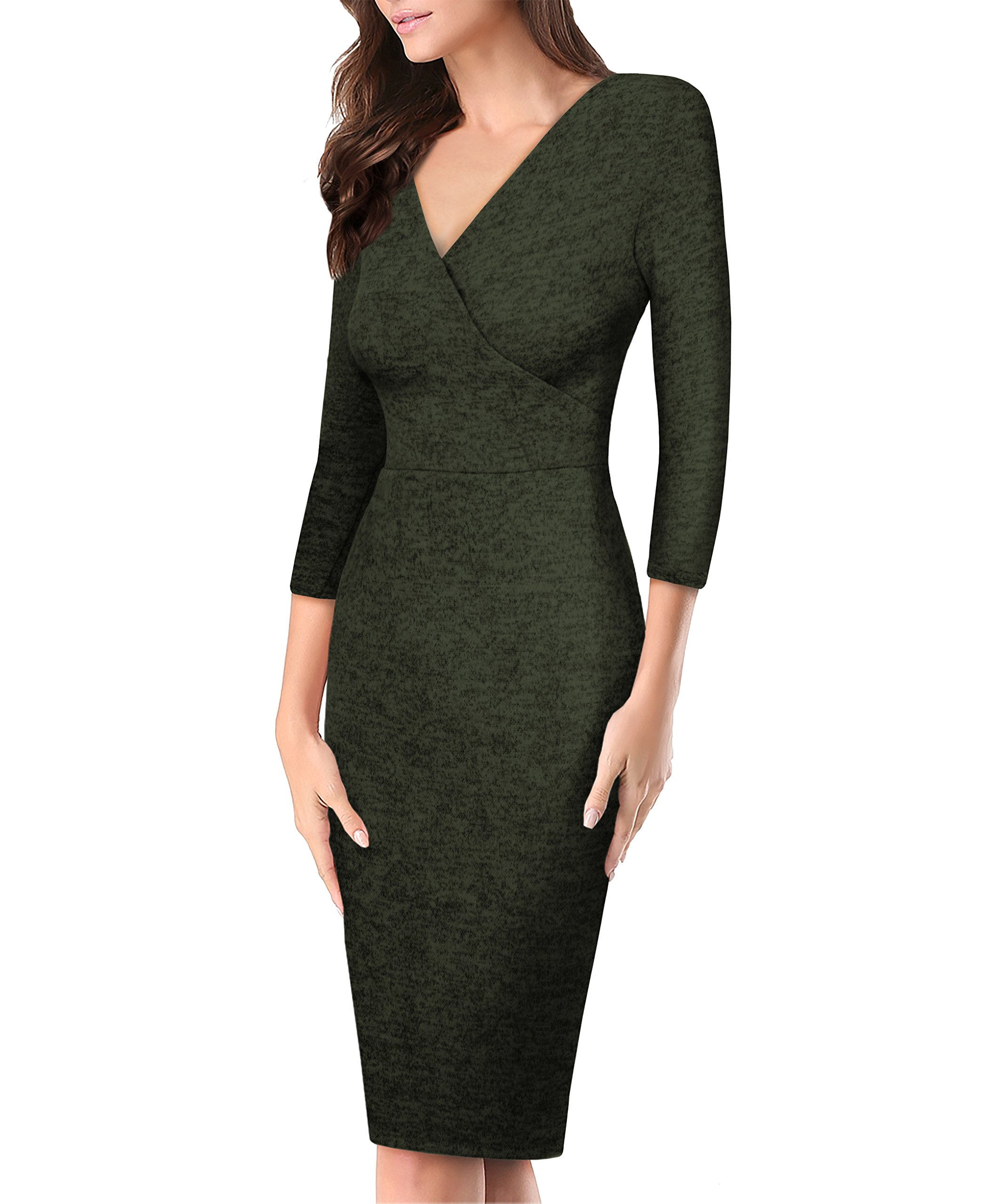 HyBrid & Company Women's Plum Cross V Neck Midi Dress KDR44322 G4000 Olive Large