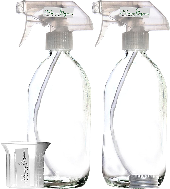 Nomara OrganicsTM - 2 Botellas de Vidrio de 500 ml sin BPA. Recargable, Para Cocina/Organico/Aceites/Aromaterapia/Cabello/Limpieza/Lavado