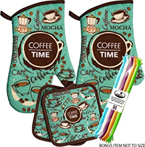 Coffee Time Coffee Themed Kitchen Oven Mitt Pot Holder Set Kitchen Linens Oven Mitt Pot Holder Pack (Fancy Coffee)