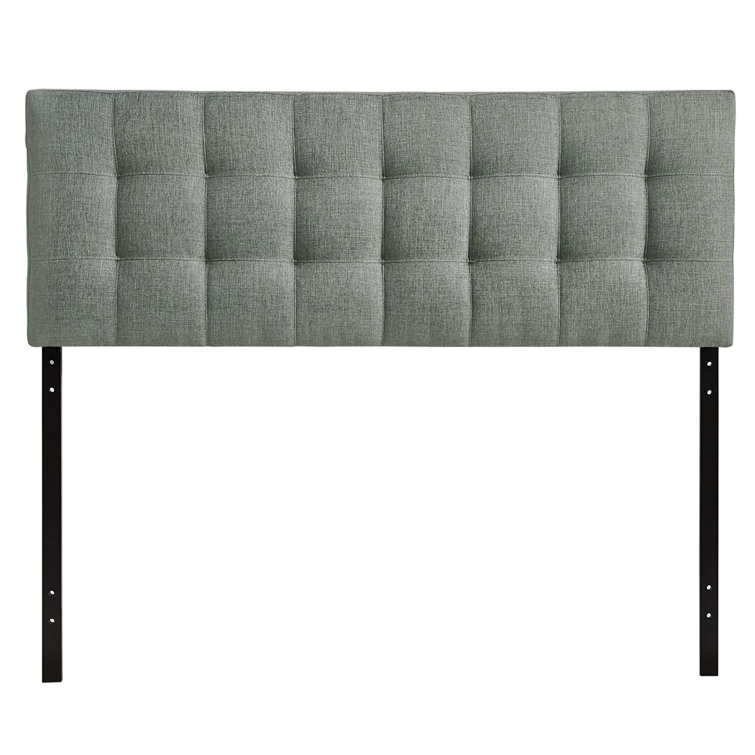 Modway Lily Queen Upholstered Linen Headboard in Gray