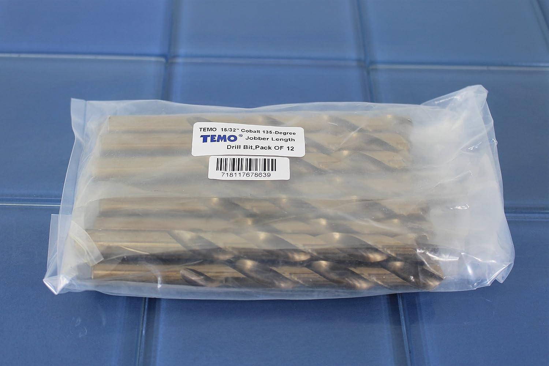 TEMO 12pc 25//64 inch Cobalt 135-Degree Jobber Drill Bit 8 inch Length