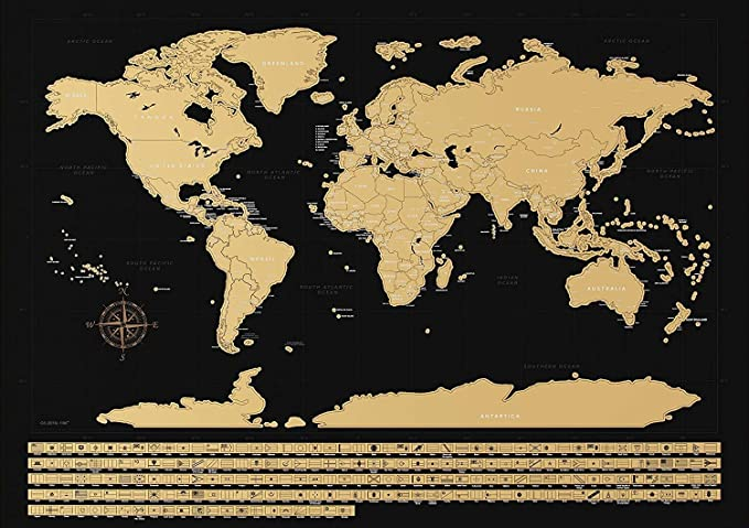NIMAXI - Mapamundi para rascar con Banderas | Mapa Mundial de Pared en Negro Grande - 83x58 cm: Amazon.es: Hogar