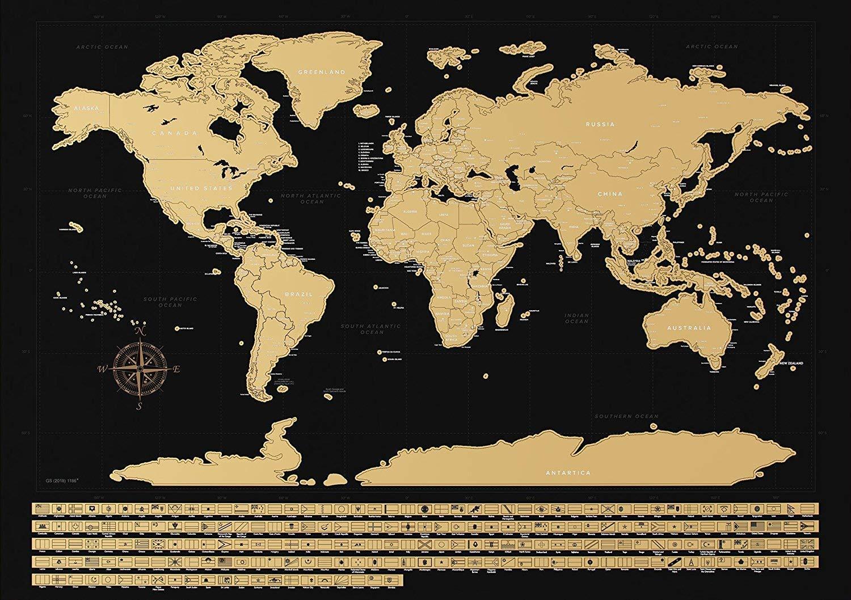 Carte du monde à gratter fond noir avec drapeaux