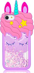 "Jowhep Case for iPhone 6/6S/7/8/SE 2020 4.7"" Silicone Carton Design Cute Cover Fashion Funny Kawaii 3D Protective Animal Fun Shell Cases for iPhone SE 2020 Kids Women Girls Purple Quicksand Unicorn"