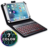COOPER BACKLIGHT EXECUTIVE Keyboard case compatible with Huawei MediaPad M3 8.4 | 2-in-1 Bluetooth Wireless Backlit Keyboard & Leather Folio Cover | 7 Color LED Keys (Black)