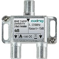 Axing BVE 2-01P 2-voudige verdeler kabeltelevisie CATV multimedia DVB-T2 klasse A+, 10dB, 5-1218 MHz metaal