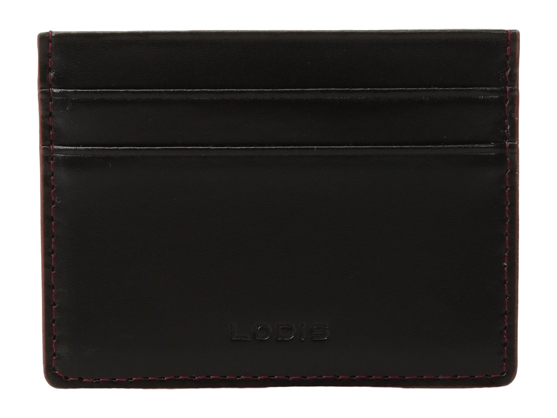 Lodis Audrey RFID Mini ID Card Case, Black/Red