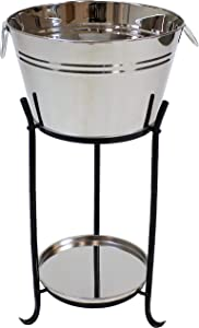 Sunnydaze Ice Bucket Drink Cooler with Stand and Tray for Parties, Stainless Steel, Holds Beer, Wine, Champagne and More