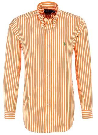 d1a954710d9915 Polo by ralph lauren chemise pour homme orange blanc rayé, vert pony coupe  ajustée