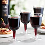 Toasted Drinkware Premium Hard Plastic Clear Two Piece 5.5 oz Wine Glasses, 40 Count