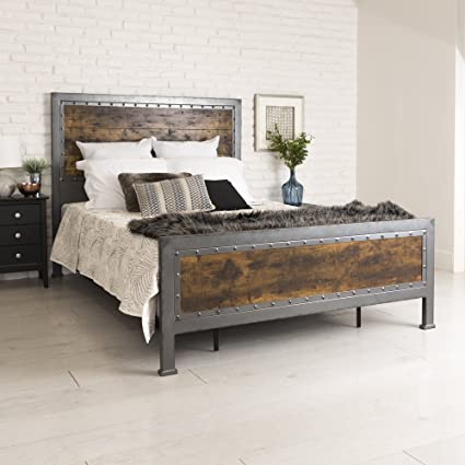 Amazon Com New Rustic Queen Industrial Wood And Metal Bed Includes