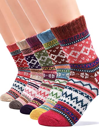 3 Pairs Ladies Rose Design Thermal Socks Warm Winter Extra Thick Hiking Boot
