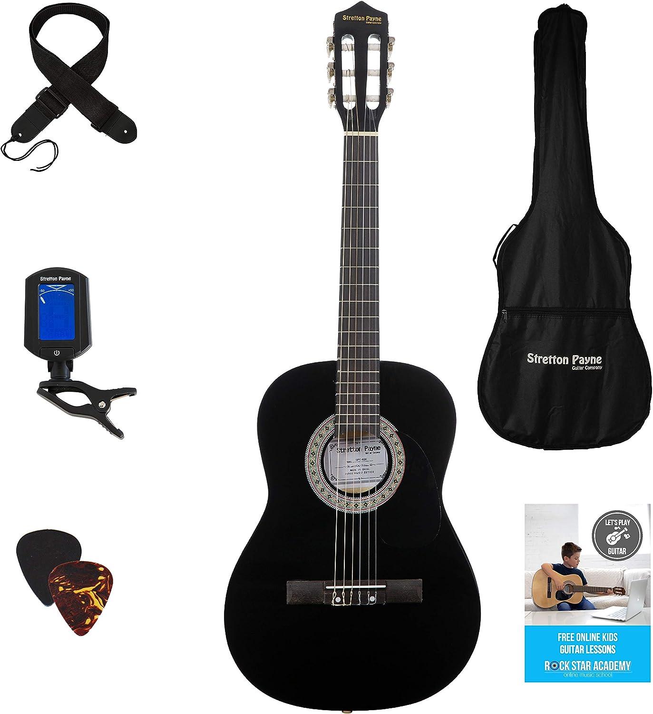 Guitarra acústica 3/4 (91,4 cm), con de cuerdas de nailon para guitarra infantil clásica, color negro
