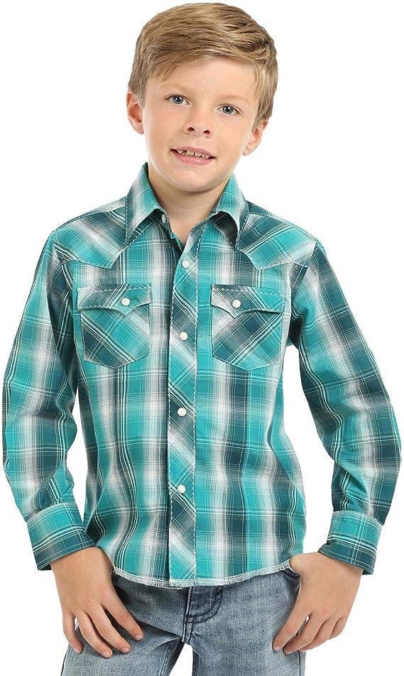 Wrangler Camisa Vaquera de Manga Larga con Cuadros Esmeralda para niños - Azul - Large: Amazon.es: Ropa y accesorios