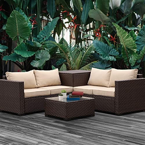 VALITA Patio PE Wicker Furniture Set 4 Pieces Outdoor Brown Rattan Sectional Conversation Sofa Chair