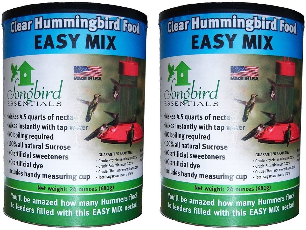 (2 Pack) Songbird Essentials SE629 Clear Hummingbird Nectar, 24 Ounce