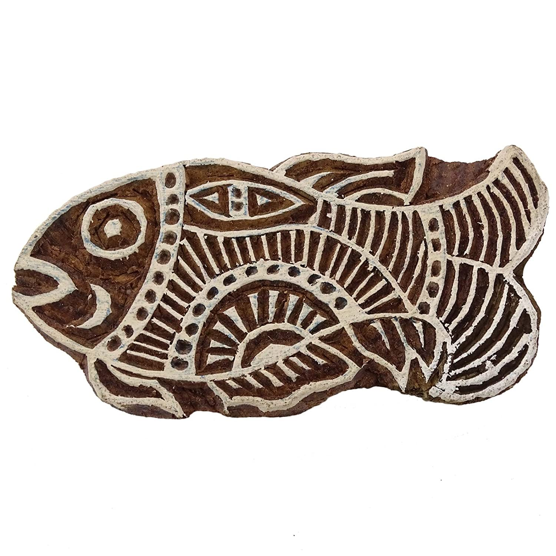 Blocco di legno indiano timbro tessile blocco di stampa S Fish decorative, Legno, Brown-13, 3 x 1.5 Inches 3 x 1.5 Inches Knitwit