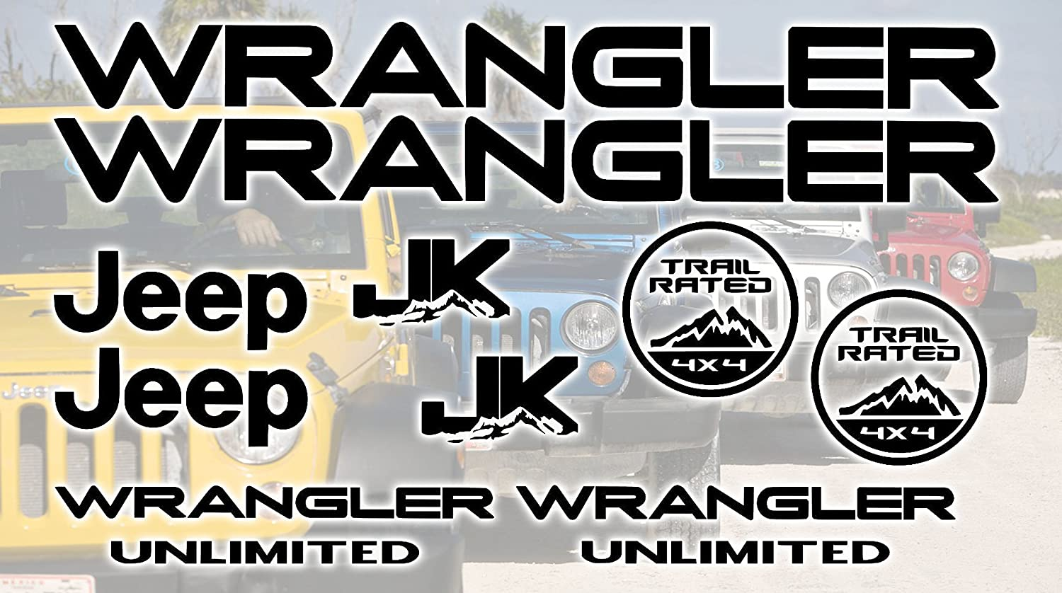Jeep Wrangler JK Unlimited Decal Kit Sticker Set of 10 Replacement decals
