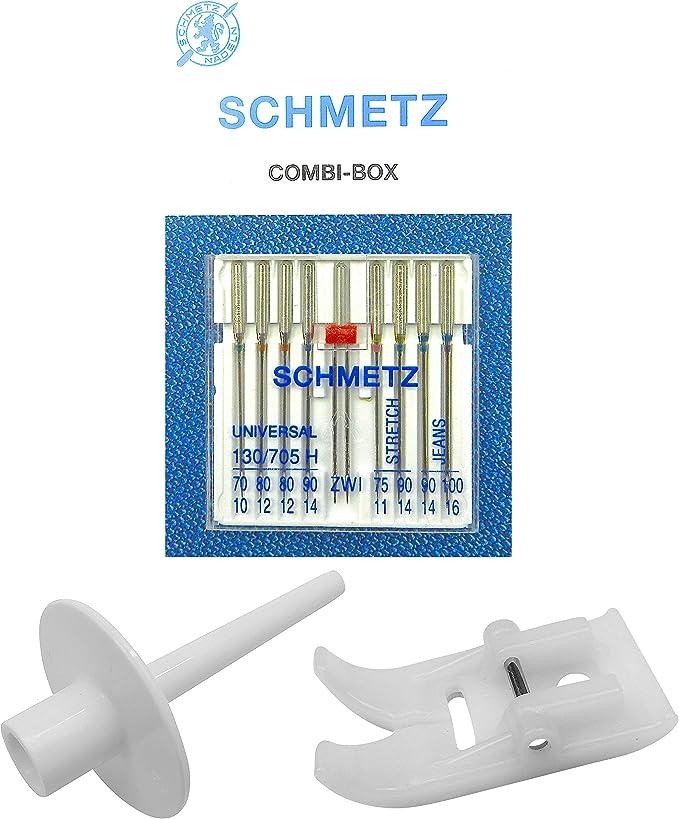 Schmetz agujas Combi de caja + soporte para rollos de hilo lápiz ...