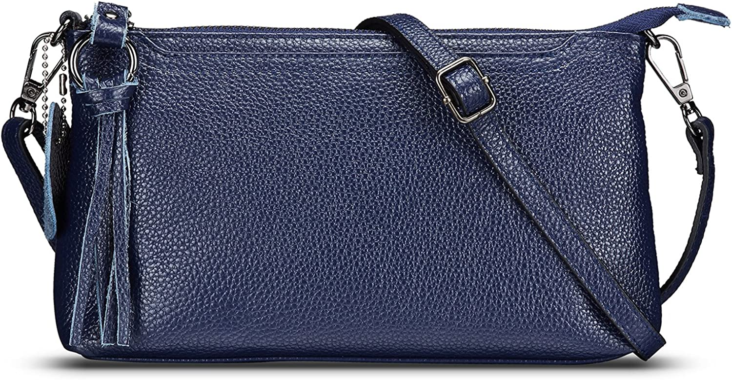 Lecxci Womens Small Leather Crossbody Bag, Zipper Clutch Phone Wallet Purse with [ 4 Card Slots] for Women
