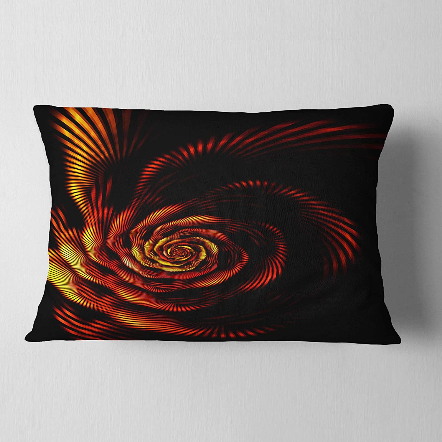Designart CU13869-12-20 Fiery Rose Fractal Passion' Flower Lumbar Cushion Cover for Living Room, Sofa Throw Pillow 12' x 20'