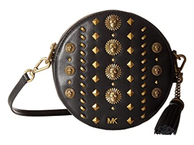 be0b61ddcd5061 Michael Kors Medium Circle Canteen Medium Studded Leather Crossbody in Black