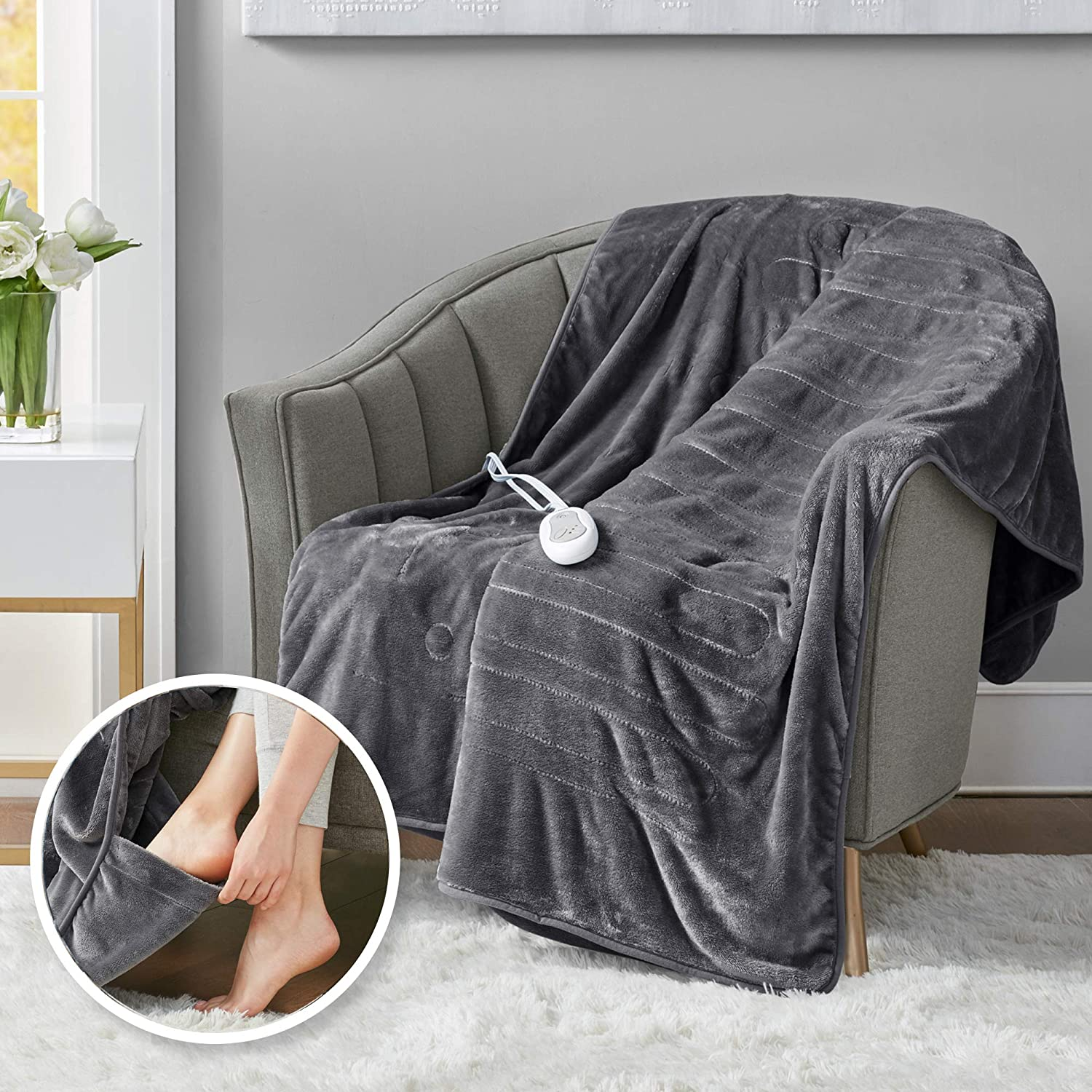 """Heated Throw Blanket w/ Foot Pocket Keeps Toes Toasty   UL Certified & Low EMF Radiation   Lower Power Bill & Relieve Sore Muscles/Joints – Tucked Power Cord – 3 Heat Settings, 50x62"""" Grey"""