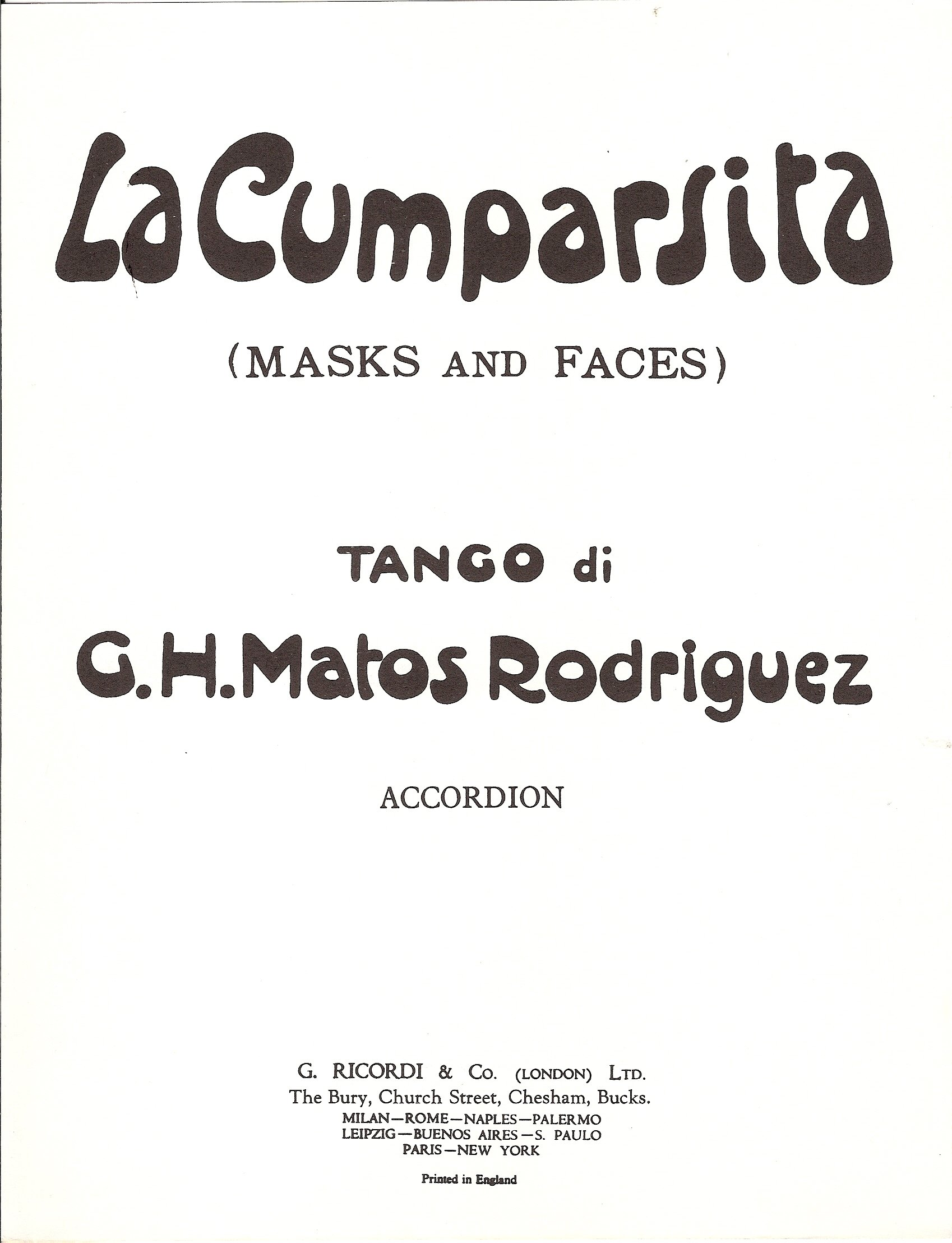 Cumparsita For Accordeon Broché – 1 janvier 2003 Gerardo Matos Rodriguez Ricordi London 0570024463 Musique