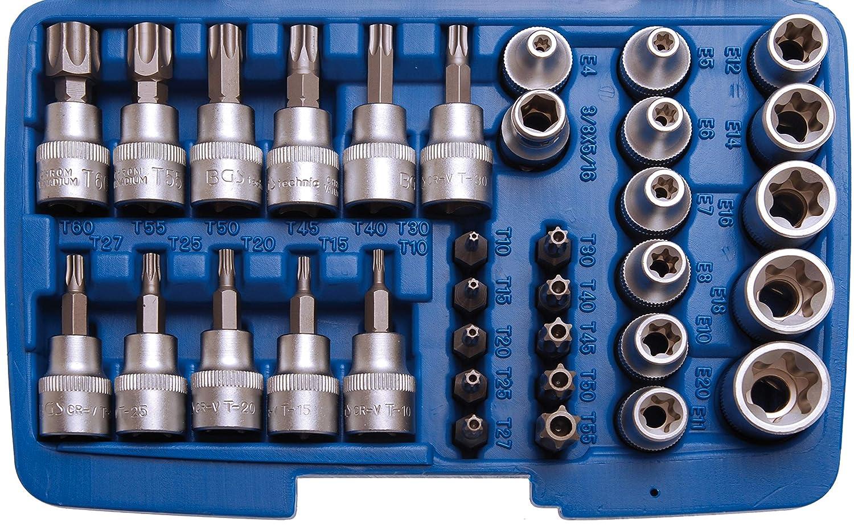 BGS 5021 | perfil en T | 34 piezas 3//8 10 mm Juego de puntas y llaves de vaso para Torx