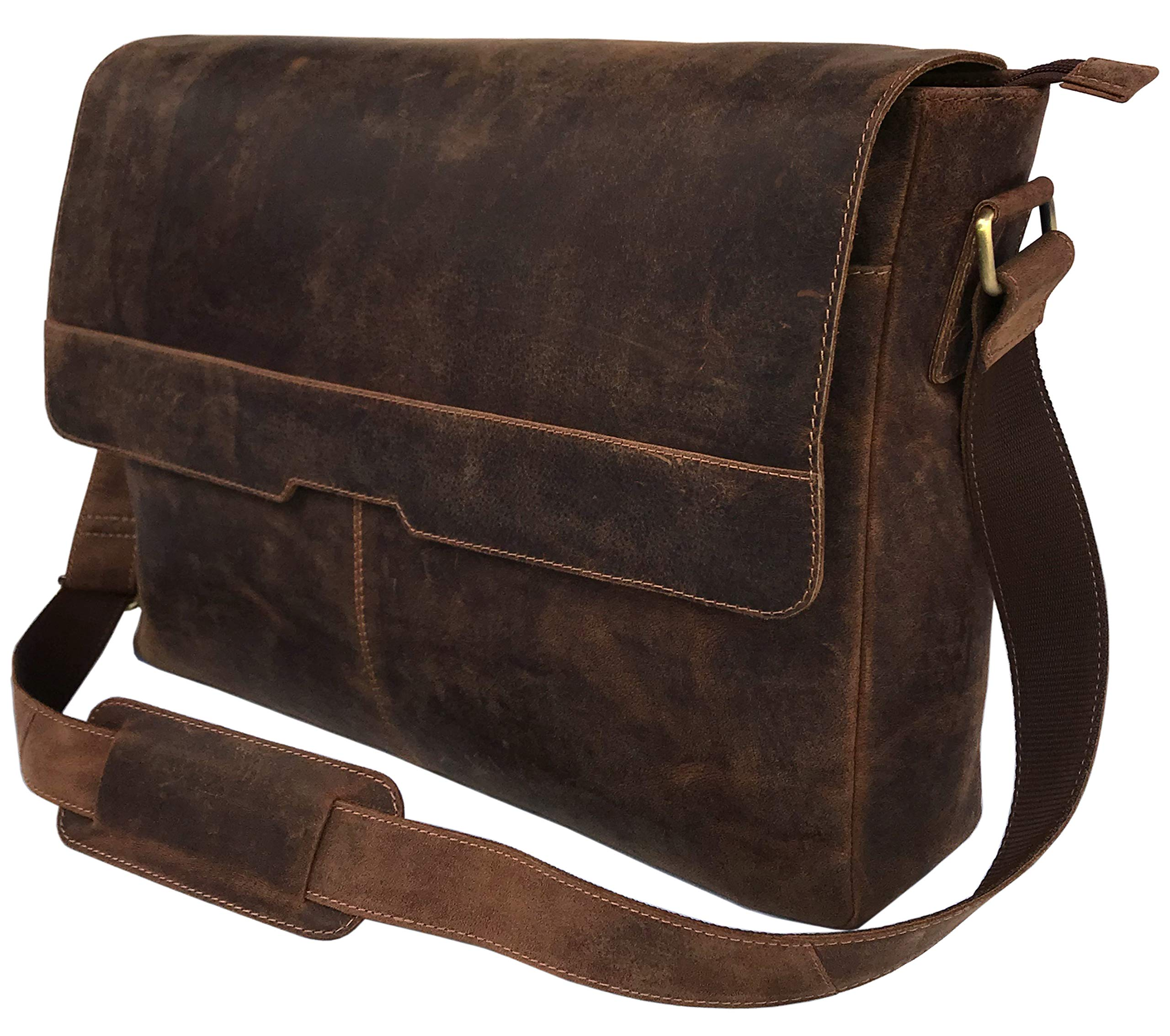18'' Leather Messenger Bag Vintage Buffalo Satchel Laptop Briefcase Unisex Computer Bags for Men Women