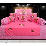 Hargunz Diwan-e-khas Cotton 8 Piece Diwan Set - Pink (dwn-rajw-pnk)