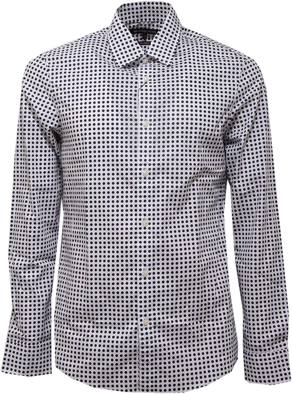 Michael Kors 5611AC Camicia uomo Stretch White/Blue Pois Shirt Men