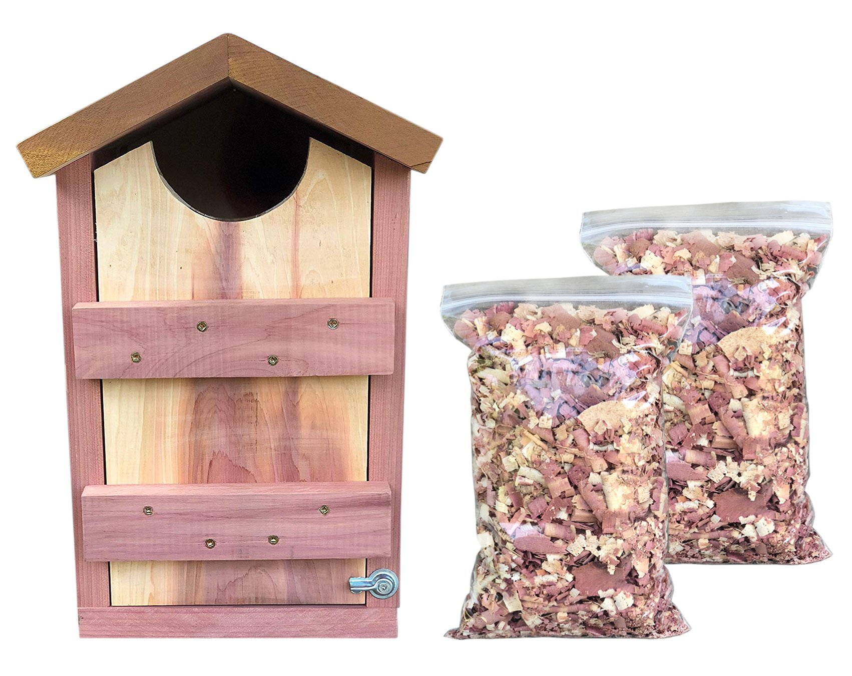 Vundahboah Amish Goods Screech Owl House Box for Nesting- Handmade in USA- Solid Cedar Wood Saw-Whet/Kestrel/Screech Owl/Flicker- Cedar Shavings Included