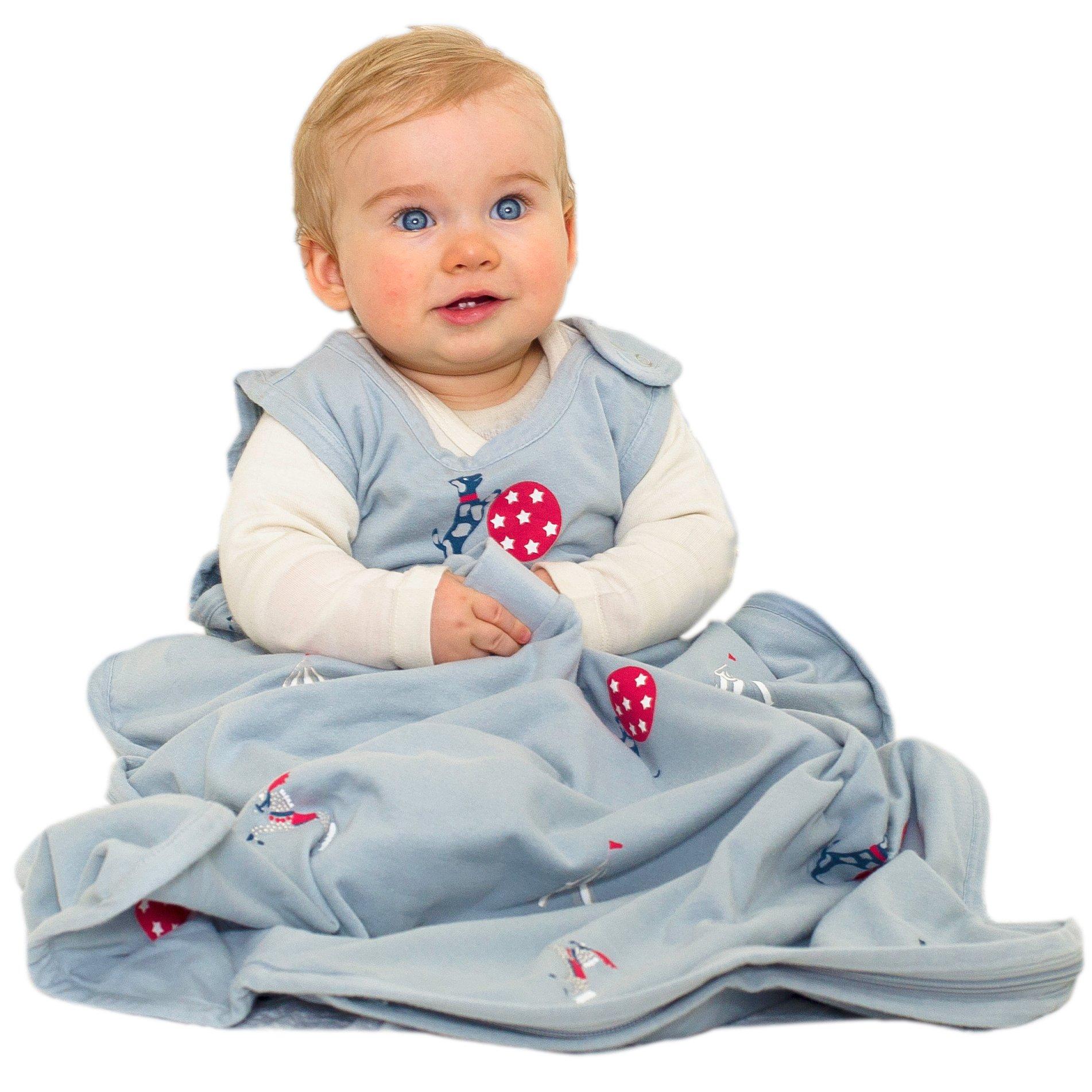 Merino Kids Organic Cotton, Circus Print, Baby Sleep Bag, for Toddlers 2-4 Years, Sky